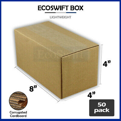 50 8x4x4 Cardboard Packing Mailing Moving Shipping Boxes Corrugated Box Cartons