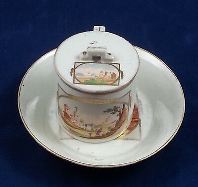 Antique 18th Century Wallendorf Covered Coffee Can and Saucer