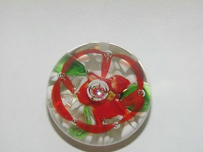 Red And White Floral Art Glass Paperweight FREE SHIPPING