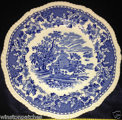 "Enoch Wood & Sons Burslem Seaforth Salad Plate 7 7/8"" Blue Center Scene"