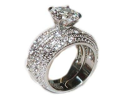 3.20 Ct Cubic Zirconia Cz Wedding Band Ring Set Stainless Steel Sizes 5-11