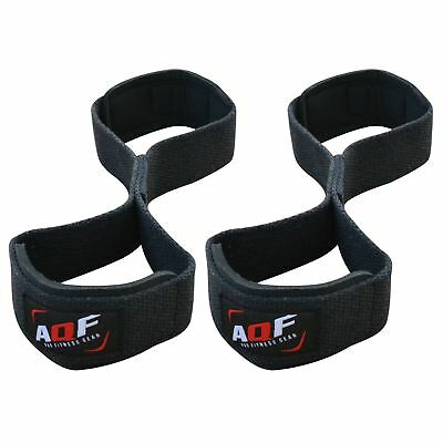 AQF Padded Cuff Weight Lifting Training Gym Straps Hand bar Grip Gloves Support