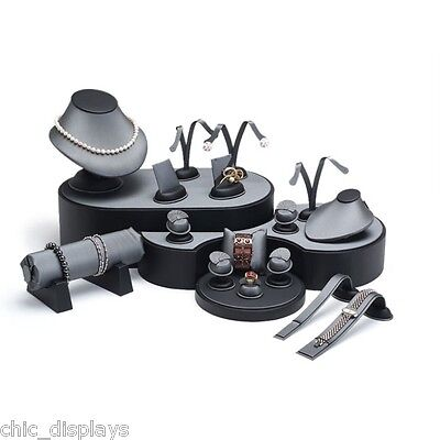 20 Pcs GREY & BLACK DISPLAY SET FAUX LEATHER JEWELRY SHOWCASE STAND RING DISPLAY