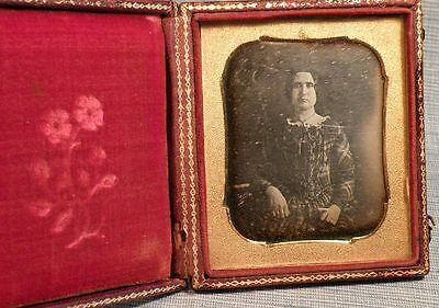 Early Daguerreotype-Woman-Lady In Plaid Dress
