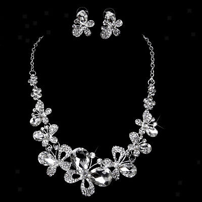 Wedding Bridal Party Crystal Rhinestone Butterfly Necklace Earrings Jewelry Set