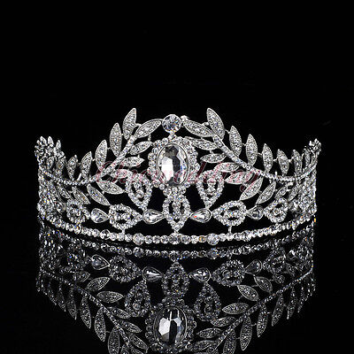 Vintage Wedding Pageant Prom Crystal Tiara Leaves Rhinestone Bridal Hair Crown
