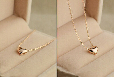 New Womens Fashion Lovely Gift Tiny Little Heart Love Gold Pendant Necklace