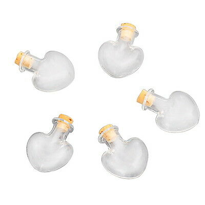 5PCs Clear Heart Shaped Glass Bottles Containers Vials With Corks 30mmx22mm
