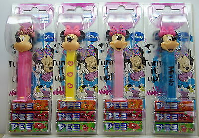 PEZ  - MINNIE MOUSE 2014 set of 4 - with printed stems/bow - Mint on Card (MOC)