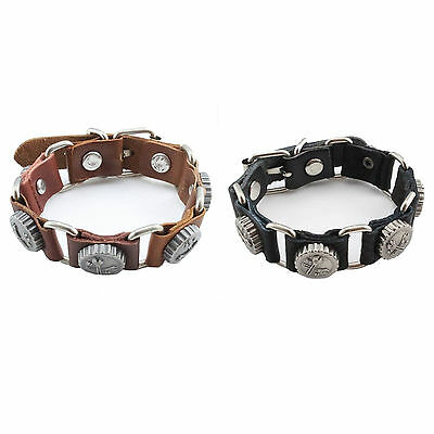 Mens Leather Tool Bracelet Buckle Wristband New Fashion Spanners Wrap Cuff