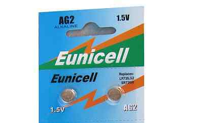 2 x 1.5v Eunicell AG2 LR726 SR59 Alkaline Button Coin Cell Watch Batteries