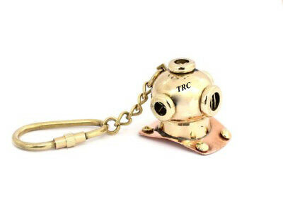 New Brass Divers Helmet Keychain Nautical Maritime Yatching Diving Keyring Gift