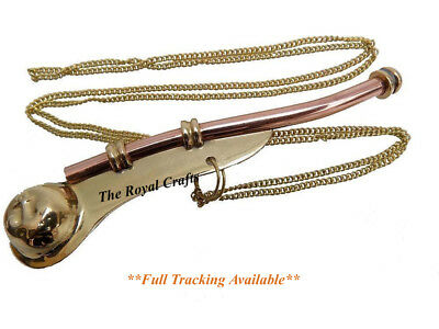 "New 5"" Brass Copper Boatswain Whistle w Chain Bosun Call Pipe Maritime Nautical"