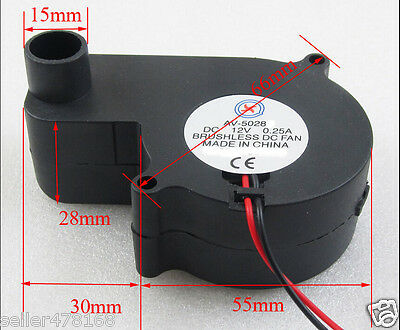 5PCS 2-pin 0.25A Brushless DC fan Cooling Blower Fan 55x55x28mm NO-5028 12V Fans