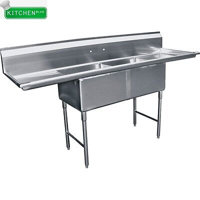 "2 Compartment  Sink 18"" x 18"" w/ 2 Drainboards 24"" NSF"
