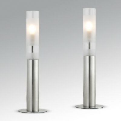 Pair of Modern Silver Chrome & Glass Touch Dimmer Bedside Table Lights Lamps
