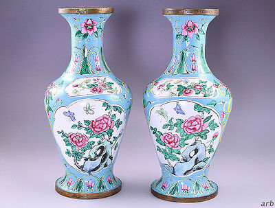 2 Cheerful Robin's Egg Blue Chinese Enameled Vases w/Mountain Scenes/Flowers