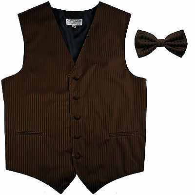 New Men's Vertical Tone on Tone stripes tuxedo Vest Waistcoat & bowtie brown