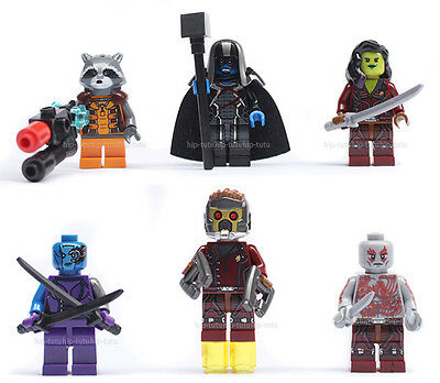 6pcs Minifigures Guardians Of The Galaxy Building Toys Ronan Star Lord 0175-0180