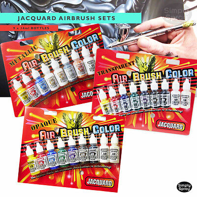 NEW Jacquard Airbrush Sets -Opaque,Metallic or Transparent-9 x 14ml bottles