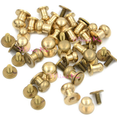 5 10P Sam Browne Stud Screw Round Head Solid Brass Rivet Chicago Button Leather