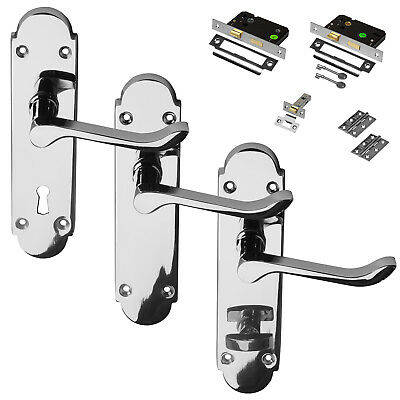 Polished Chrome Door Handle Richmond Set Pack Latch Lock Bathroom Privacy Scroll
