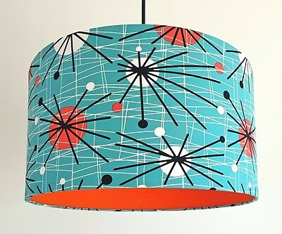 Retro Sputnik 50's Atomic Turquoise Fabric Lampshade Lined with a POP of Orange
