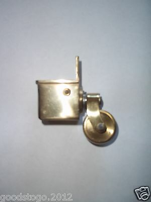 1 X New Vintage Square Brass Metal Swivel Feet Castors For Tables Chairs Etc