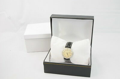 Vintage Longines Mystery Dial 18K White Gold Leather Mens Wrist Watch