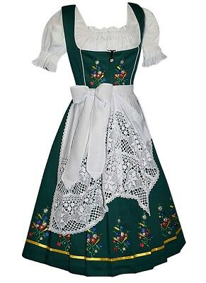 DIRNDL Trachten Oktoberfest DRESS 3 pcs Long EMBROIDERED German Sun Garden Swing