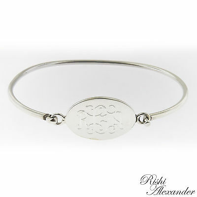 Monogrammed .925 Sterling Silver Hinged Oval Cuff Bracelet