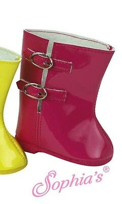 PINK SOFT PATENT RAIN BOOT with Silver Buckles fits American Girl