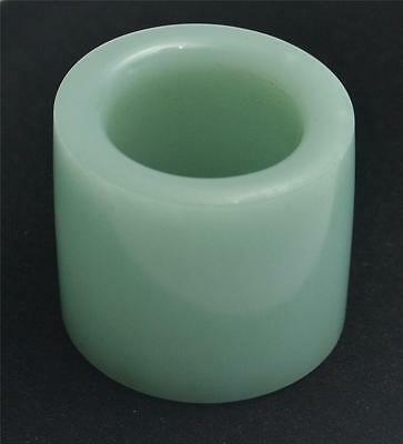 Fine Chinese Green Jade Cylindrical Archer's Ring, 20th Century