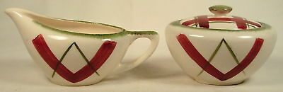 KNOWLES EL CENTRO RED & GREEN PLAID SUGAR & CREAMER