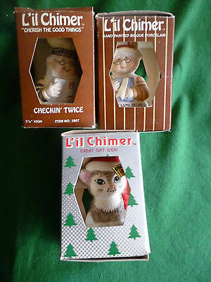 Lil Chimers Bells Santa Mrs Claus Chefs Hersheys Lot of 3 Christmas Decorations