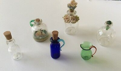 Rare lot of antique miniature glass bottles and miniature glass funnel