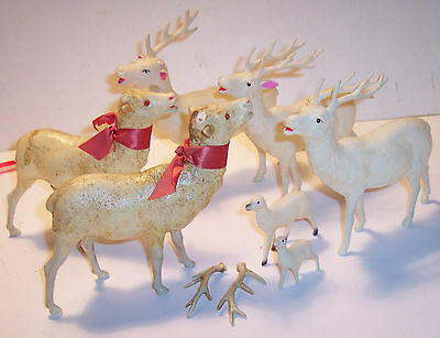 antique celluloid 7 reindeer deer holiday christmas lot for repair parts 5 large