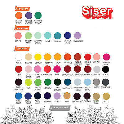 "Siser EASYWEED Heat Transfer 15"" X 25 yd Choose From 38 COLORS Your Choice"