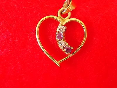 Vintage Antique Collectable Heart Pendant with Clear and Purple Stones