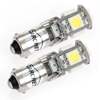 2PCS BAX9S H6W 5 SMD LEDs Canbus Error Free Light Bulbs Lamp 12V for Car