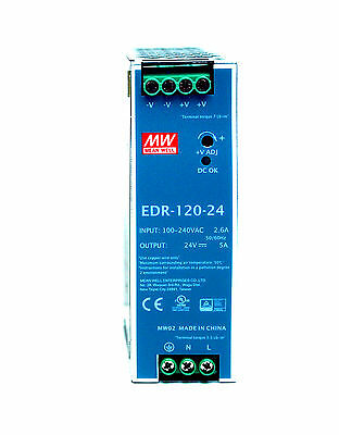 1pc DIN Rail DC Switching Power Supply EDR-120-24 120W 24V 5A Mean Well MW