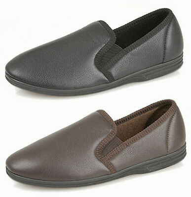 New Mens Gents Leather Look Full Slippers Black Brown Size UK 6 - 14