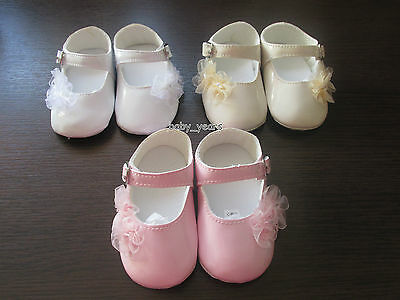 Baby Girls Formal Christening Party Soft Patent Pram Shoes White Pink Flower New
