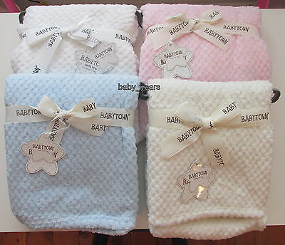 Baby Waffle Blanket Soft Fleece Wrap Cot Pram Moses Pink Blue Girls Boys White