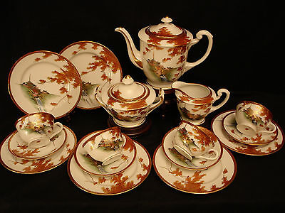 MARKED Senzan JAPANESE TAISHO PERIOD SATSUMA TEA SET / CUP & SAUCER / CAKE PLATE