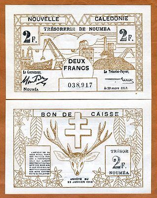 New Caledonia, 2 Francs, P-56, 1943 WWII, Scrace in UNC