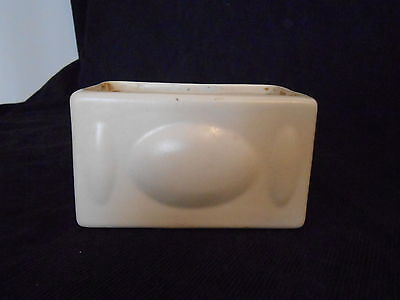 Vintage Haeger Art Pottery Small White Rectangle Planter
