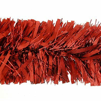 2m Deluxe Chunky Wide Red Shiny Christmas Tree Tinsel Garland Decoration