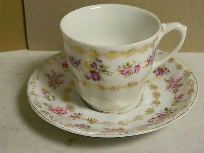 Vintage KPM China Tea Cup & Saucer Purple Flowers & Gold Trim Pattern Excellent