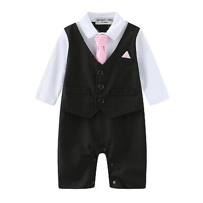 Baby Boy Formal*Party*Wedding*Tuxedo Waistcoat 1pc Grey Outfit Suit 0-24 Months